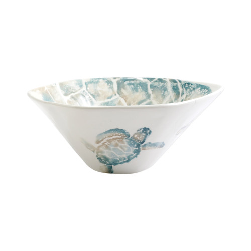 "Vietri Tartaruga Deep Serving Bowl  TAR-9731 12.25D, 5.5""H  Maestro artisan, Gianluca Fabbro, uses a unique sponging technique on Tartaruga, blending soft hues of the sea and sand to illustrate the story of baby sea turtles leaving their nest for the first time.  Handpainted on terra bianca in Veneto.  Dishwasher and microwave safe."