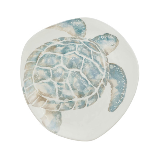 "Vietri Tartaruga Oblong Serving Platter  TAR-9723 16.25""L, 13.75""W  Maestro artisan, Gianluca Fabbro, uses a unique sponging technique on Tartaruga, blending soft hues of the sea and sand to illustrate the story of baby sea turtles leaving their nest for the first time.  Handpainted on terra bianca in Veneto.  Dishwasher and microwave safe."