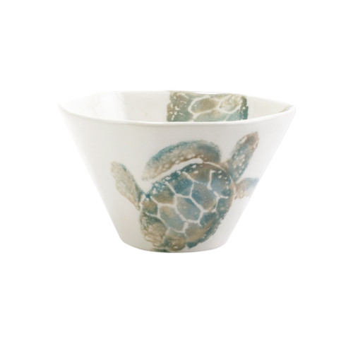 "Vietri Tartaruga Cereal Bowl  TAR-9705 .25""D, 3.5""H  Maestro artisan, Gianluca Fabbro, uses a unique sponging technique on Tartaruga, blending soft hues of the sea and sand to illustrate the story of baby sea turtles leaving their nest for the first time.  Handpainted on terra bianca in Veneto.  Dishwasher and microwave safe."