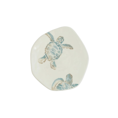 "Vietri Tartaruga Turtle with Head Salad Plate  TAR-9701B 8.5""D  Maestro artisan, Gianluca Fabbro, uses a unique sponging technique on Tartaruga, blending soft hues of the sea and sand to illustrate the story of baby sea turtles leaving their nest for the first time.  Handpainted on terra bianca in Veneto.  Dishwasher and microwave safe."