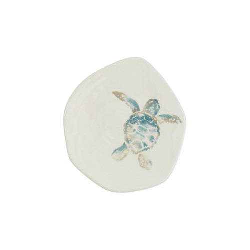 "Vietri Tartaruga Turtle Salad Plate  TAR-9701A 8.5""D  Maestro artisan, Gianluca Fabbro, uses a unique sponging technique on Tartaruga, blending soft hues of the sea and sand to illustrate the story of baby sea turtles leaving their nest for the first time.  Handpainted on terra bianca in Veneto.  Dishwasher and microwave safe."