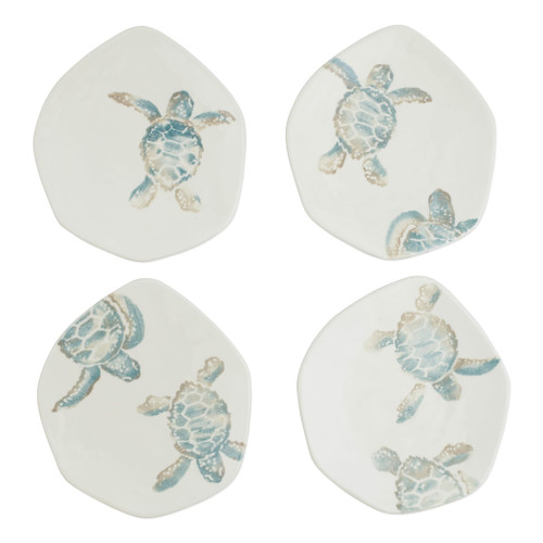 "Vietri Tartaruga Assorted Turtle Salad Plates Set/4  TAR-9701 8.5""D  Maestro artisan, Gianluca Fabbro, uses a unique sponging technique on Tartaruga, blending soft hues of the sea and sand to illustrate the story of baby sea turtles leaving their nest for the first time.  Handpainted on terra bianca in Veneto.  Dishwasher and microwave safe."