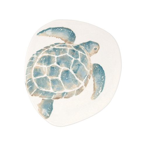 "Vietri Tartaruga Dinner Plate  TAR-9700 11.5""D  Maestro artisan, Gianluca Fabbro, uses a unique sponging technique on Tartaruga, blending soft hues of the sea and sand to illustrate the story of baby sea turtles leaving their nest for the first time.  Handpainted on terra bianca in Veneto.  Dishwasher and microwave safe."