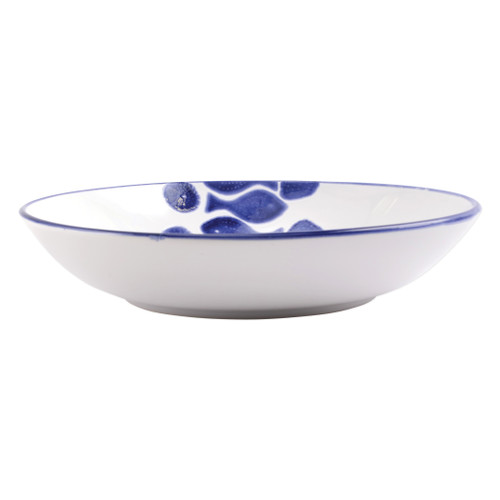 "Vietri Viva Santorini Fish Medium Serving Bowl  VSAN-F003031 12""D, 2.5""H Make everyday entertaining a splash with the playful design of Vietri's Santorini Fish, a perfect mix of blue and white that easily layers with the mosaic patterns of Santorini dinnerware.   Handmade of hard ceramic in Portugal.   Dishwasher safe and microwave safe."