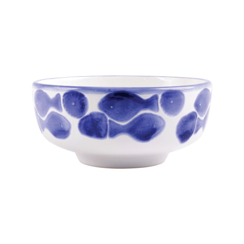 """Vietri Viva Santorini Fish Medium Footed Serving Bowl  VSAN-F003033 8""""D, 3.75""""H  Make everyday entertaining a splash with the playful design of Vietri's Santorini Fish, a perfect mix of blue and white that easily layers with the mosaic patterns of Santorini dinnerware.   Handmade of hard ceramic in Portugal.   Dishwasher safe and microwave safe."""