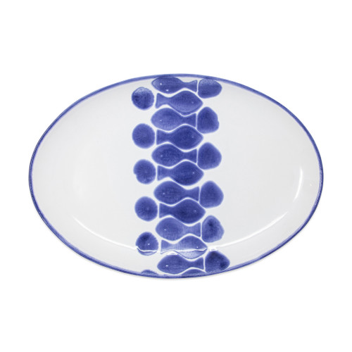 "Vietri Viva Santorini Fish Oval Platter  VSAN-F003024 14""L, 10""W  Make everyday entertaining a splash with the playful design of Vietri's Santorini Fish, a perfect mix of blue and white that easily layers with the mosaic patterns of Santorini dinnerware.   Handmade of hard ceramic in Portugal.   Dishwasher safe and microwave safe."