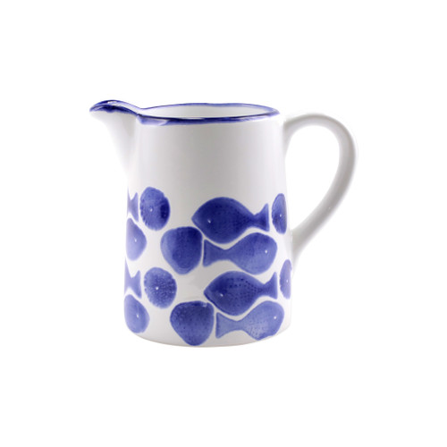 """Vietri Viva Santorini Fish Pitcher  VSAN-F003015 8.5""""W, 6.5""""H  Make everyday entertaining a splash with the playful design of Vietri's Santorini Fish, a perfect mix of blue and white that easily layers with the mosaic patterns of Santorini dinnerware.   Handmade of hard ceramic in Portugal.   Dishwasher safe and microwave safe."""