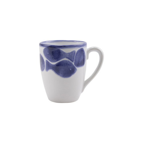 """Vietri Viva Santorini Fish Mug  VSAN-F003010 4.5""""H, 14oz  Make everyday entertaining a splash with the playful design of Vietri's Santorini Fish, a perfect mix of blue and white that easily layers with the mosaic patterns of Santorini dinnerware.   Handmade of hard ceramic in Portugal.   Dishwasher safe and microwave safe."""
