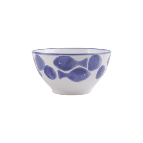 """Vietri Viva Santorini Fish Cereal Bowl  VSAN-F003005 6""""D, 3.25""""H  Make everyday entertaining a splash with the playful design of Vietri's Santorini Fish, a perfect mix of blue and white that easily layers with the mosaic patterns of Santorini dinnerware.   Handmade of hard ceramic in Portugal.   Dishwasher safe and microwave safe."""