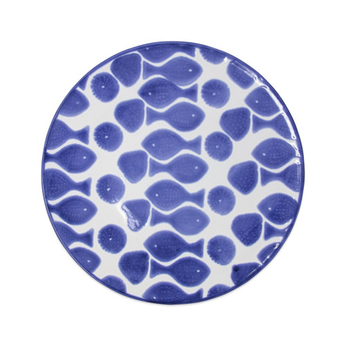 """Vietri Viva Santorini Fish Dinner Plate  VSAN-F00300 10.75""""D  Make everyday entertaining a splash with the playful design of Vietri's Santorini Fish, a perfect mix of blue and white that easily layers with the mosaic patterns of Santorini dinnerware.   Handmade of hard ceramic in Portugal.   Dishwasher safe and microwave safe."""