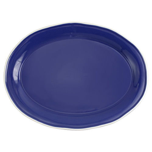 "Vietri Viva Chroma Blue Oval Platter  VCRM-B003025 16""L, 11.75""W  Simple lines, clean design.  Vietri's Chroma is defined by its purity of color and smooth shapes making it the perfect backdrop for your monthly dinner parties or casual nights in with the family.  Handpainted on hard ceramic in Portugal.  Dishwasher & Microwave safe."