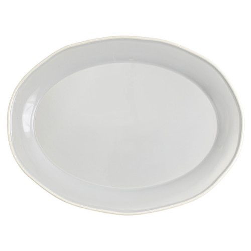 "Vietri Viva Chroma Light Gray Oval Platter  VCRM-LG003025 16""L, 11.75""W  Simple lines, clean design.  Vietri's Chroma is defined by its purity of color and smooth shapes making it the perfect backdrop for your monthly dinner parties or casual nights in with the family.  Handpainted on hard ceramic in Portugal.  Dishwasher & Microwave safe."