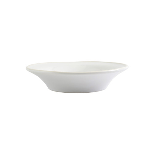 """Vietri Viva Chroma White Pasta Bowl  VCRM-W003004 9""""D, 2""""H  Simple lines, clean design.  Vietri's Chroma is defined by its purity of color and smooth shapes making it the perfect backdrop for your monthly dinner parties or casual nights in with the family.  Handpainted on hard ceramic in Portugal.  Dishwasher & Microwave safe."""