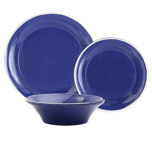 "Vietri Viva Chroma Blue 3-Piece Place Setting  VCRM-B003000S 7"" - 10.5""D  Place Setting includes dinner plate, salad plate and cereal bowl.  Simple lines, clean design.  Vietri's Chroma is defined by its purity of color and smooth shapes making it the perfect backdrop for your monthly dinner parties or casual nights in with the family.  Handpainted on hard ceramic in Portugal.  Dishwasher & Microwave safe."