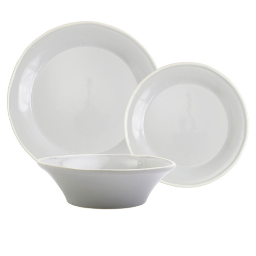 "Vietri Viva Chroma Light Gray 3-Piece Place Setting  VCRM-LG003000S 7"" - 10.5""D  Place Setting includes dinner plate, salad plate and cereal bowl.  Simple lines, clean design.  Vietri's Chroma is defined by its purity of color and smooth shapes making it the perfect backdrop for your monthly dinner parties or casual nights in with the family.  Handpainted on hard ceramic in Portugal.  Dishwasher & Microwave safe."