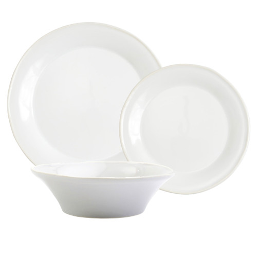 "Vietri Viva Chroma White 3-Piece Place Setting  VCRM-W003000S 7"" - 10.5""D  Place Setting includes dinner plate, salad plate and cereal bowl.  Simple lines, clean design.  Vietri's Chroma is defined by its purity of color and smooth shapes making it the perfect backdrop for your monthly dinner parties or casual nights in with the family.  Handpainted on hard ceramic in Portugal.  Dishwasher & Microwave safe."