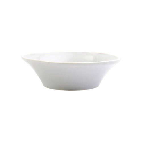 "Vietri Viva Chroma White Cereal Bowl  VCRM-W003005 7""D, 2.25""H  Simple lines, clean design.  Vietri's Chroma is defined by its purity of color and smooth shapes making it the perfect backdrop for your monthly dinner parties or casual nights in with the family.  Handpainted on hard ceramic in Portugal.  Dishwasher & Microwave safe."