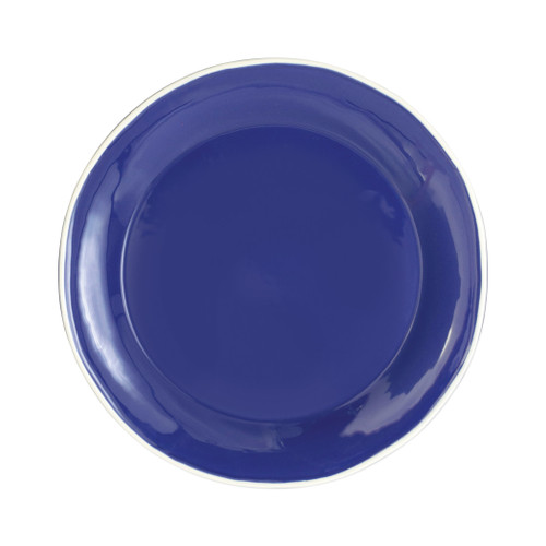 "Vietri Viva Chroma Blue Dinner Plate  VCRM-B003000 20.5""D  Simple lines, clean design.  Vietri's Chroma is defined by its purity of color and smooth shapes making it the perfect backdrop for your monthly dinner parties or casual nights in with the family.  Handpainted on hard ceramic in Portugal.  Dishwasher & Microwave safe."