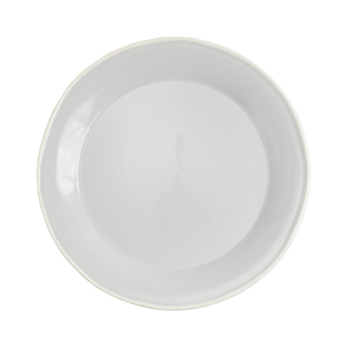 """Vietri Viva Chroma Light Gray Dinner Plate  VCRM-LG003000 20.5""""D  Simple lines, clean design.  Vietri's Chroma is defined by its purity of color and smooth shapes making it the perfect backdrop for your monthly dinner parties or casual nights in with the family.  Handpainted on hard ceramic in Portugal.  Dishwasher & Microwave safe."""