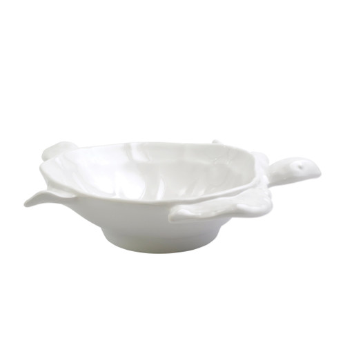 "Vietri Melamine Incanto Mare White Serving Bowl  MIMA-W2331 13""L, 10.5""W, 2.5""H  Vietri's iconic figural sea turtles return to the table in melamine fit for seaside dining.  Lightweight yet sturdy with a glossy finish, this collection is ideal for outdoor use or meals with children.  BPA free and made in Philippines. Dishwasher safe - not microwave safe."