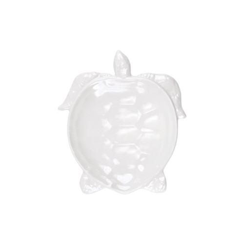"""Vietri Melamine Incanto Mare White Salad Plate  MIMA-W2301 105""""L, 9""""W  Vietri's iconic figural sea turtles return to the table in melamine fit for seaside dining.  Lightweight yet sturdy with a glossy finish, this collection is ideal for outdoor use or meals with children.  BPA free and made in Philippines. Dishwasher safe - not microwave safe."""
