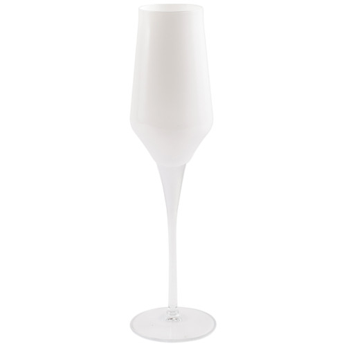 "Vietri White Contessa Champagne Glass  CTA-CW8850 10.25""H, 7oz  The elegant and poised body of Vietri's timeless Contessa stemware from plumpuddingkitchen.com was inspired by the grace of an Italian countess, and lends itself to ease and entertaining for everyday occasions.  Handcrafted in Naples. Dishwasher safe."