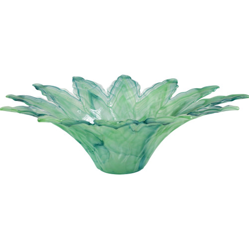 "Vietri Onda Glass Green Leaf Large Centerpiece  OND-5293G 1975""D, 6.5""H Reminiscent of the waves crashing on the island of Capri, additions to Onda Glass in organic shapes and vibrant cobalt and white illustrate the beauty of Italy's coastline, the perfect complement to any bedroom or dining room setting.  Mouthblown in Italy.   Food safe.   Dishwasher safe."
