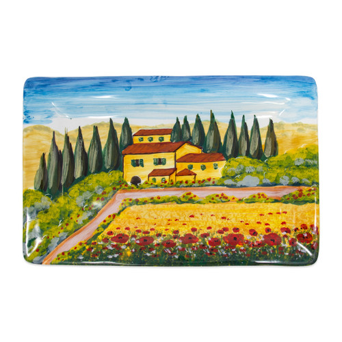 "Vietri Tuscany Rectangular Wall Plate  WAL-7828 18.75""L, 11.75""W  Capture the beauty and vitality of Italy with Vietri's vibrant, rich colors and classic designs, featured on these handpainted works of art from plumpuddingkitchen.com.    Handpainted on terra bianca in Tuscany.  Dishwasher safe."