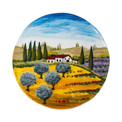 "Vietri Tuscany Round Wall Plate  WAL-7827 13.75""D  Capture the beauty and vitality of Italy with Vietri's vibrant, rich colors and classic designs, featured on these handpainted works of art from plumpuddingkitchen.com.    Handpainted on terra bianca in Tuscany.  Dishwasher safe."