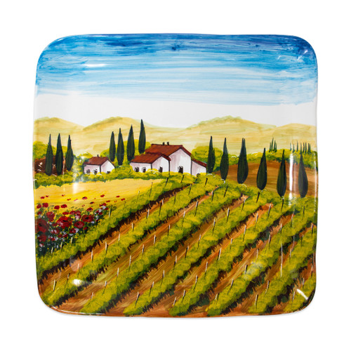 "Vietri Tuscany Large Square Wall Plate  WAL-7826 16"" Square  Capture the beauty and vitality of Italy with Vietri's vibrant, rich colors and classic designs, featured on these handpainted works of art from plumpuddingkitchen.com.    Handpainted on terra bianca in Tuscany.  Dishwasher safe."