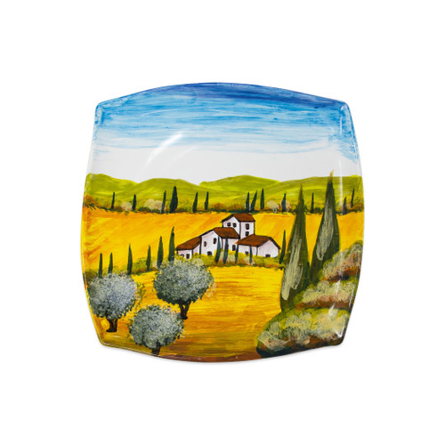 "Vietri Tuscany Wall Plate  WAL-7830 12"" Square  Capture the beauty and vitality of Italy with Vietri's vibrant, rich colors and classic designs, featured on these handpainted works of art from plumpuddingkitchen.com.    Handpainted on terra bianca in Tuscany.  Dishwasher safe."