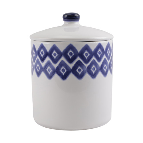"Vietri Santorini Diamond Large Canister  VSAN-003068 7.5""D, 9.5""H  Liven up your everyday dinner parties with the playful designs of Vietri's Santorini from plumpuddingkitchen.com, inspired by a well-traveled lifestyle.   Assorted blue and white patterns make entertaining fun by recreating the beautiful mosaic tiles found in the Greek Isles.   Handmade of hard ceramic.  Dishwasher and microwave safe."
