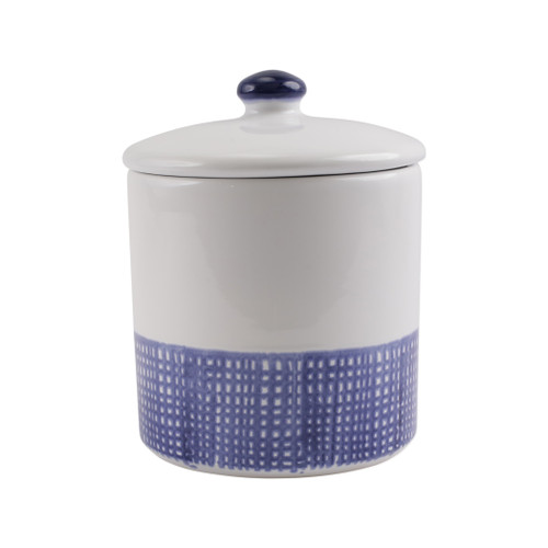 "Vietri Santorini Geo Medium Canister  VSAN-003067 6.25""D, 8.25""H  Liven up your everyday dinner parties with the playful designs of Vietri's Santorini from plumpuddingkitchen.com, inspired by a well-traveled lifestyle.   Assorted blue and white patterns make entertaining fun by recreating the beautiful mosaic tiles found in the Greek Isles.   Handmade of hard ceramic.  Dishwasher and microwave safe."