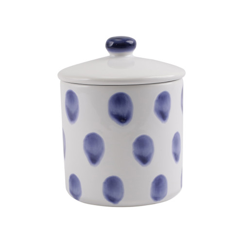 "Vietri Santorini Dot Small Canister  VSAN-003066 5""D, 6.25""H  Liven up your everyday dinner parties with the playful designs of Vietri's Santorini from plumpuddingkitchen.com, inspired by a well-traveled lifestyle.   Assorted blue and white patterns make entertaining fun by recreating the beautiful mosaic tiles found in the Greek Isles.   Handmade of hard ceramic.  Dishwasher and microwave safe."