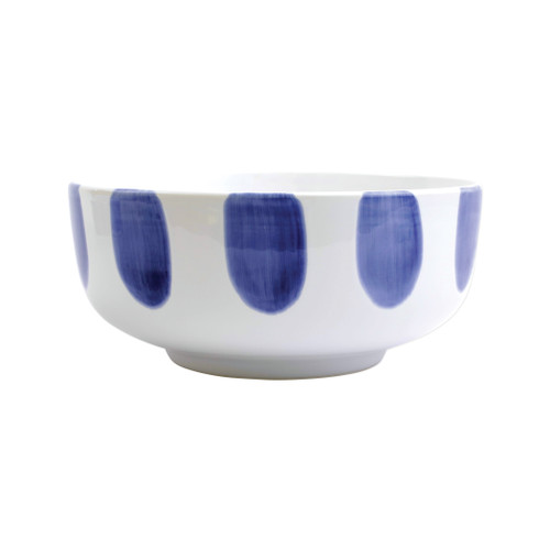 "Vietri Santorini Dot Large Footed Serving Bowl  VSAN-003032 10""D, 4.25""H  Liven up your everyday dinner parties with the playful designs of Vietri's Santorini from plumpuddingkitchen.com, inspired by a well-traveled lifestyle.   Assorted blue and white patterns make entertaining fun by recreating the beautiful mosaic tiles found in the Greek Isles.   Handmade of hard ceramic.  Dishwasher and microwave safe."