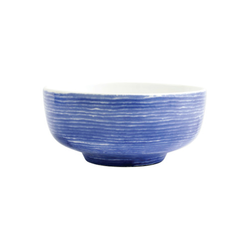 "Vietri Santorini Stripe Medium  Footed Serving Bowl  VSAN-003033 8""D, 4.25""H  Liven up your everyday dinner parties with the playful designs of Vietri's Santorini from plumpuddingkitchen.com, inspired by a well-traveled lifestyle.   Assorted blue and white patterns make entertaining fun by recreating the beautiful mosaic tiles found in the Greek Isles.   Handmade of hard ceramic.  Dishwasher and microwave safe."