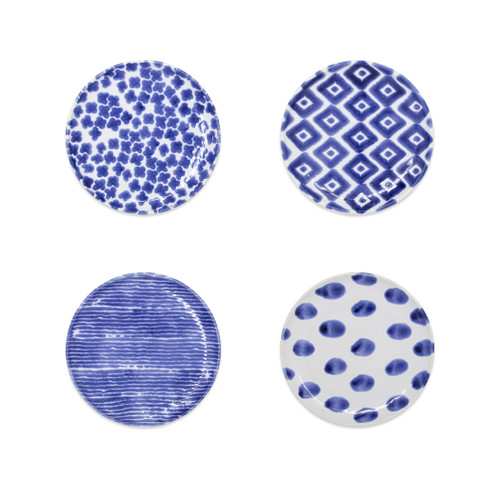"Vietri Santorini Assorted Canape Set/4  VSAN-003019 6.5""D  Liven up your everyday dinner parties with the playful designs of Vietri's Santorini from plumpuddingkitchen.com, inspired by a well-traveled lifestyle.   Assorted blue and white patterns make entertaining fun by recreating the beautiful mosaic tiles found in the Greek Isles.   Handmade of hard ceramic.  Dishwasher and microwave safe."