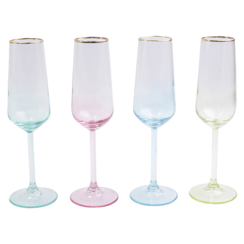 "Vietri Viva Rainbow Assorted Flute Champagne Glasses Set/4  VBOW-52150 9""H, 6oz  Share a toast with your closest friends and the full-spectrum sparkle of Vietri's Rainbow Glass featuring a gilded gold rim that adds glamour and shine to any occasion.  Cin cin!  Made in Turkey. Handwash."
