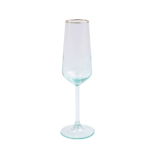 """Vietri Viva Rainbow Green Flute Champagne Glass  VBOW-G52150 9""""H, 6oz  Share a toast with your closest friends and the full-spectrum sparkle of Vietri's Rainbow Glass featuring a gilded gold rim that adds glamour and shine to any occasion.  Cin cin!  Made in Turkey. Handwash."""