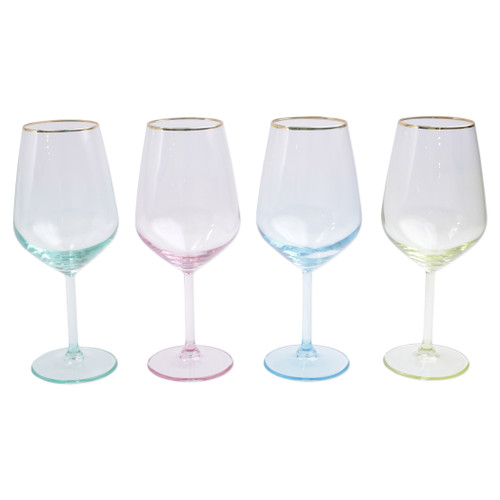 "Vietri Viva Rainbow Assorted Wine Glasses Set/4  VBOW-52120 8.5""H, 14oz  Share a toast with your closest friends and the full-spectrum sparkle of Vietri's Rainbow Glass featuring a gilded gold rim that adds glamour and shine to any occasion.  Cin cin!  Made in Turkey. Handwash."