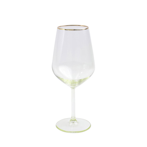 "Vietri Viva Rainbow Yellow Wine Glass VBOW-Y52120 8.5""H, 14oz  Share a toast with your closest friends and the full-spectrum sparkle of Vietri's Rainbow Glass featuring a gilded gold rim that adds glamour and shine to any occasion.  Cin cin!  Made in Turkey. Handwash."