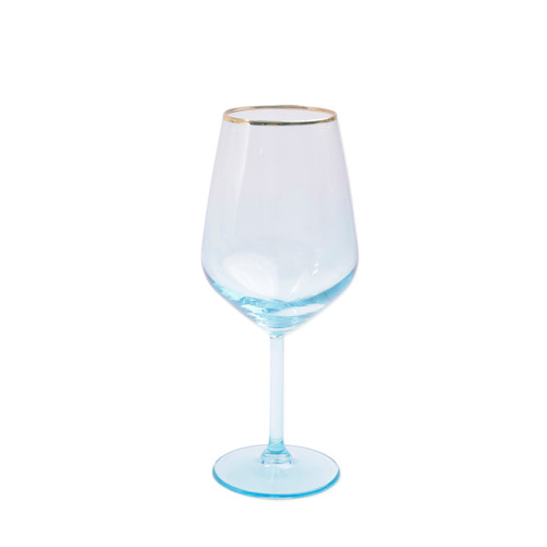 "Vietri Viva Rainbow Green Wine Glass  VBOW-G52120 8.5""H, 14oz  Share a toast with your closest friends and the full-spectrum sparkle of Vietri's Rainbow Glass featuring a gilded gold rim that adds glamour and shine to any occasion.  Cin cin!  Made in Turkey. Handwash."