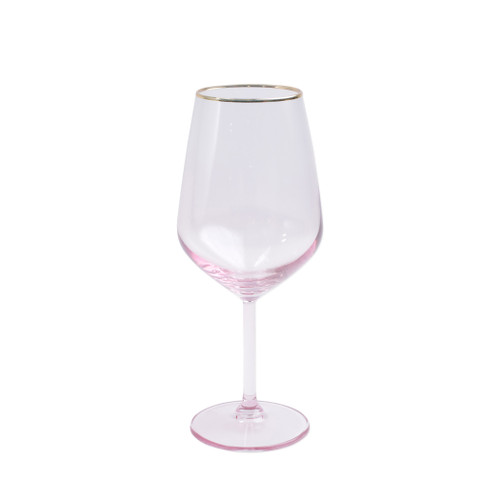 "Vietri Viva Rainbow Pink Wine Glass  VBOW-P52120 8.5""H, 14oz  Share a toast with your closest friends and the full-spectrum sparkle of Vietri's Rainbow Glass featuring a gilded gold rim that adds glamour and shine to any occasion.  Cin cin!  Made in Turkey. Handwash."