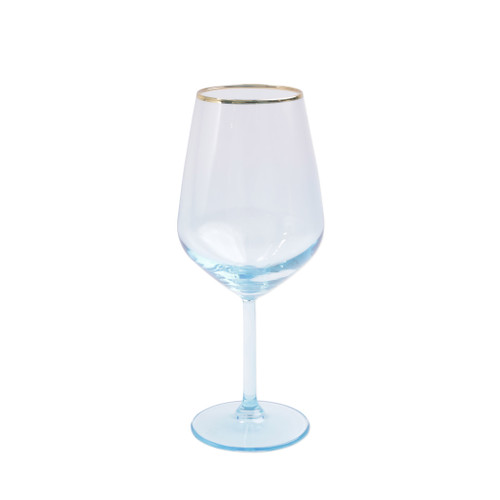"Vietri Viva Rainbow Turquoise Wine Glass  VBOW-T52120 8.5""H, 14oz  Share a toast with your closest friends and the full-spectrum sparkle of Vietri's Rainbow Glass featuring a gilded gold rim that adds glamour and shine to any occasion.  Cin cin!  Made in Turkey. Handwash."