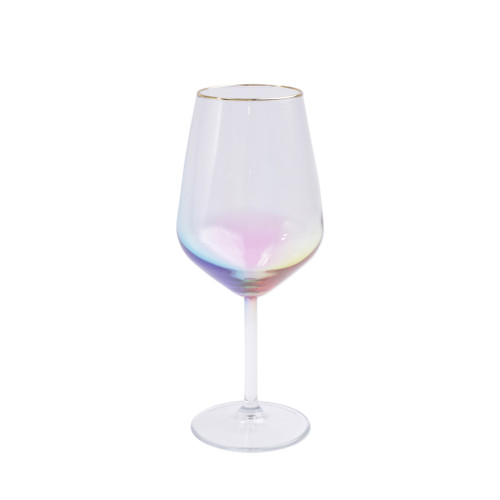"Vietri Viva Rainbow Multi-Colored Wine Glass  VBOW-M52120 8.5""H, 14oz  Share a toast with your closest friends and the full-spectrum sparkle of Vietri's Rainbow Glass featuring a gilded gold rim that adds glamour and shine to any occasion.  Cin cin!  Made in Turkey. Handwash."