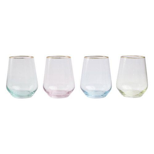 "Vietri Viva Rainbow Assorted Stemless Wine Glass Set/4  VBOW-52121 4.25""H, 14oz  Share a toast with your closest friends and the full-spectrum sparkle of Vietri's Rainbow Glass featuring a gilded gold rim that adds glamour and shine to any occasion.  Cin cin!  Made in Turkey. Handwash."