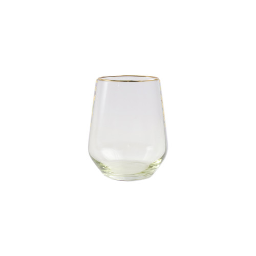 "Vietri Viva Rainbow Yellow Stemless Wine Glass   VBOW-Y52121 4.25""H, 14oz  Share a toast with your closest friends and the full-spectrum sparkle of Vietri's Rainbow Glass featuring a gilded gold rim that adds glamour and shine to any occasion.  Cin cin!  Made in Turkey. Handwash."