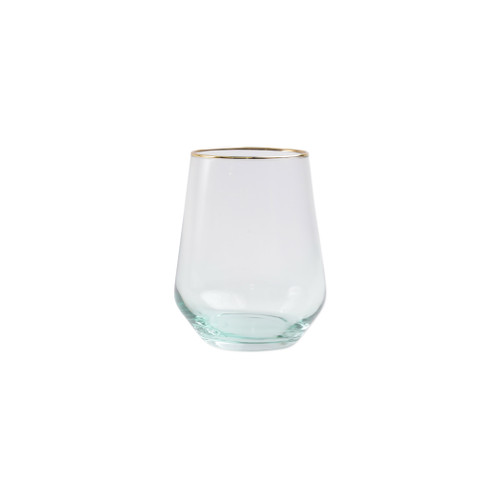"Vietri Viva Rainbow Green Stemless Wine Glass  VBOW-G52121 4.25""H, 14oz  Share a toast with your closest friends and the full-spectrum sparkle of Vietri's Rainbow Glass featuring a gilded gold rim that adds glamour and shine to any occasion.  Cin cin!  Made in Turkey. Handwash."