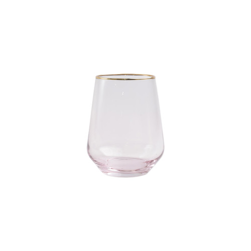 "Vietri Viva Rainbow Pink Stemless Wine Glass   VBOW-P52121 4.25""H, 14oz  Share a toast with your closest friends and the full-spectrum sparkle of Vietri's Rainbow Glass featuring a gilded gold rim that adds glamour and shine to any occasion.  Cin cin!  Made in Turkey. Handwash."
