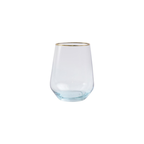 "Vietri Viva Rainbow Turquoise Stemless Wine Glass   VBOW-T52121 4.25""H, 14oz  Share a toast with your closest friends and the full-spectrum sparkle of Vietri's Rainbow Glass featuring a gilded gold rim that adds glamour and shine to any occasion.  Cin cin!  Made in Turkey. Handwash."